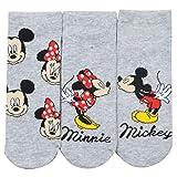 United Labels Mickey Maus Socken 3er Pack für Damen, Grau mit Motiv, Disney Sneaker (39/42)