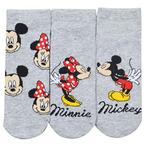 United Labels Mickey Maus Socken 3er Pack für Kinder, Grau mit Motiv, Disney Sneaker (39/42)