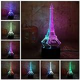 PDDXBB Beauté Romantique Tour Eiffel 3D LED RGB 7 Mixte Double Couleur Nouveauté Lampe De Bureau Veilleuse Anniversaire Noël Cadeau Chambre Décor Sept Couleur 87 * 87 * 43Mm(USB+Batterie)