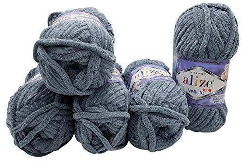 5 x 100 Gramm Alize Velluto Strickwolle, Babywolle , 500 Gramm Wolle Super soft Bulky (dunkelgrau 87)