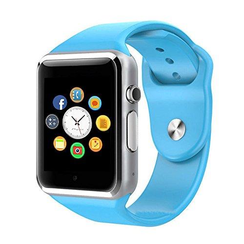 Smart Watch, CulturesIn Orologio da Polso Touch Screen Bluetooth con Fotocamera/Slot Scheda SIM/Contapassi per Android (Tutte le funzioni) ed iOS (funzioni parziali). (blue)