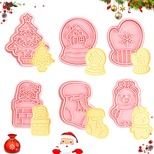 Christmas Cookie Cutters, 6 Piece Christmas Cookie Cutters Shapes,3D Christmas Biscuit Cutters Set - Christmas Tree, Santa Claus, Snowman, Glove, House and Sock