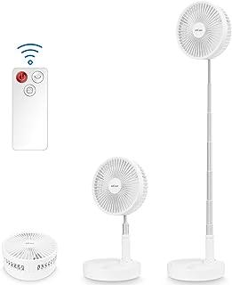 AICase Ventilador de Pie Silencioso con Control Remoto, Altura Regulable y Plegable, 4 Velocidades, 4 Modos,batería de 7200 mAh con Temporizador,Cargando Via USB