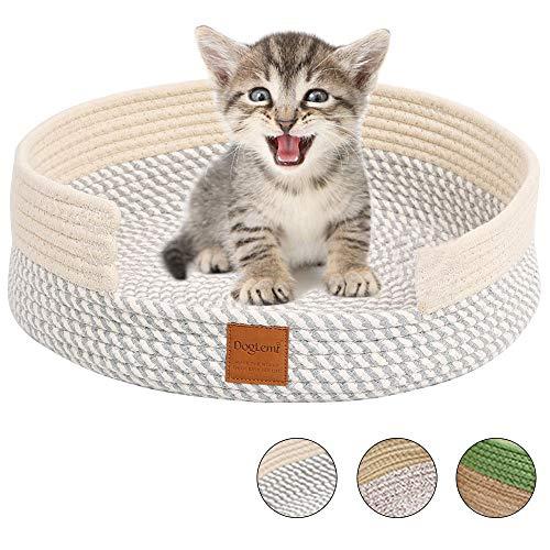 Comodo CamaGato, Tejer a Mano NidoGato Algodón Rascador Verano Suave CestaGato Redonda Oval Plano Lavable Plegable Four Seasons Universal Acogedor CatBed CatNest CatBasket Medio (gris blanco)