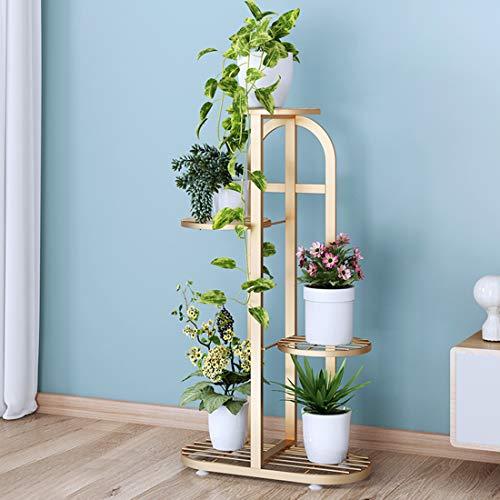 Escalera para flores de teca de 4 niveles, estantería para flores de metal, escalera para plantas, vintage, soporte para flores con estantes, escalera para plantas en interiores y exteriores, dorado