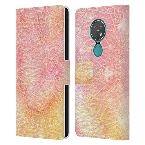 Officiële Aimee Stewart Roze limonade Mandala Lederen Book Portemonnee Cover Compatibel voor Nokia 7.2