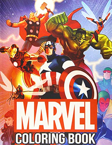 Marvel Coloring Book: 50+ Super heroes Illustrations for Kids and Adults Great Coloring Books for Superheroes Fan