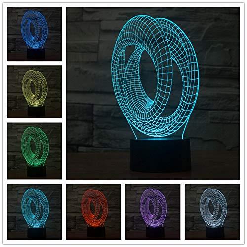 Colorido acrílico abstracto LED estéreo e interruptor táctil de luz 3 d Canasta Led Luz de noche para niños para niños Lámpara de mesa