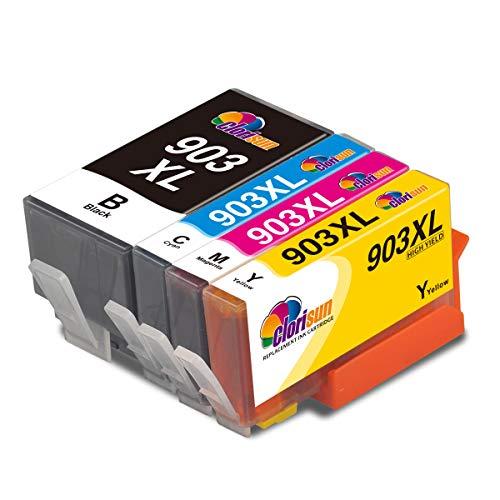 Clorisun 903XL 903 XL Druckerpatronen für HP 903 XL Multipack Tintenpatronen für HP Officejet Pro 6950 6960 6970 All-in-One-Drucker(Schwarz Cyan Magenta Gelb 4 Pack)
