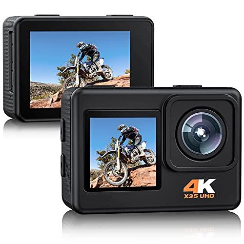 Action Cam 4K 24MP Doppelbildschirm, 170° Weitwinkel 4X Zoom PC Webcam Sportkamera WiFi Unterwasser 40M wasserdichte Kamera mit EIS, 2 x 1050mAh Batterien und Montagesets