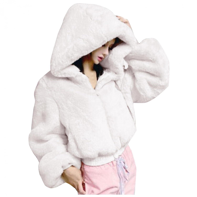 Padaleks Women's Furry Coats Soft Faux Fur Long Sleeve Zipper Crop Jackets Winter Warm Furry Hooded Outerwear