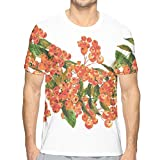 3D Printed T Shirts,Hand Painted Border Full of Rowan Berries Vintage Style Watercolor Flora