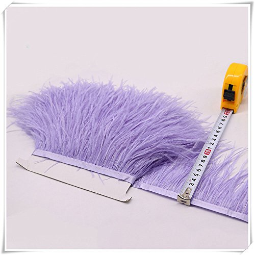 1 Meter Ostrich Feather Trim Fringe with Satin Ribbon Fluffy Feather Trimming Boa Stripe Plume Puffs for Party Dress Dance Costume Craft Making (Lilac)