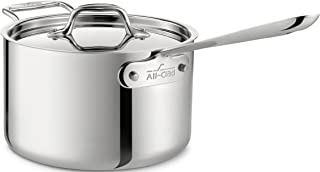 All-Clad 4204 with loop Stainless Steel Tri-Ply Bonded Dishwasher Safe Sauce Pan with Loop Helper Handle and Lid Cookware, 4-Quart, Silver - 8701004419