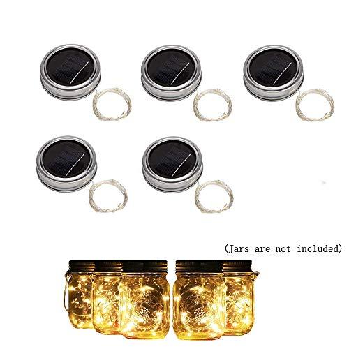 Solar Einmachglas Deckel Lichter Hängende Solarglasdeckel Lichter Glas Solar Laternen Tischleuchten Außenlampe Dekor für Patio Garden Yard Deck Boden und Rasen 5er Pack(Glas nicht enthalten)