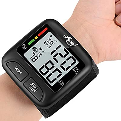 Wrist Blood Pressure Monitor, Lovia Automatic Digital BP Machine for Home Use with Adjustable Cuff, Large LCD Display, Accurate Fast Reading Meter