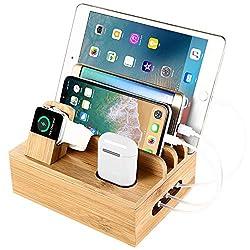 SETROVIC Bambus Ladestation Docking Holder, Desktop Organizer & Ladestation für mehrere Geräte Dock. Ladestation Zubehör Docking Holder Kompatibel Handy/Tablet/Apple Watch/Airpods