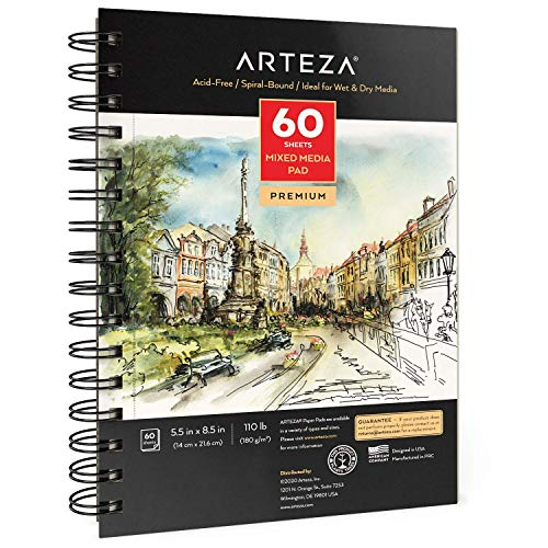 Arteza 5.5x8.5 inches Mixed Media Sketch Book, 60 Sheets, 180gsm, Micro-Perforated, Spiral-Bound Pad, for Wet and Dry Media, Sketching, Drawing, and Painting