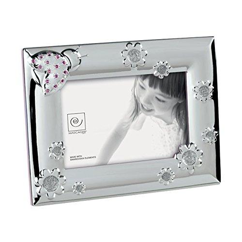 Mascagni Casa Cornice Portafoto Formato 10X15 con Fantasie E Cristalli Swarovski 108, Metallo, Multicolore, 17 x 22 x 1,5 cm
