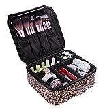VASKER Makeup Case, Travel Makeup Bags Cosmetic Bag Organizer Train Case Leopard Professional Waterproof Portable Makeup Box Artist Storage Bag Brush Holder with Adjustable Divider for Women