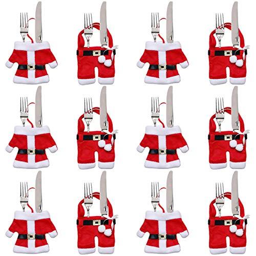 Gudotra 12pz Set Portaposate Natalizie Babbo Natale Tasche Posate per Forchetta Cucchiaio Decorazione della Tavolo di Natale