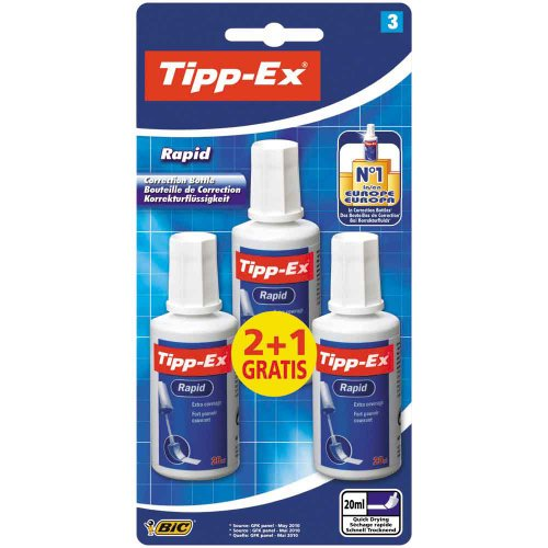 Tipp-Ex Rapid Correction Fluid - Value Pack of 3 (2 + 1 Free) - Easy To Correct - Excellent Coverage - 20ml