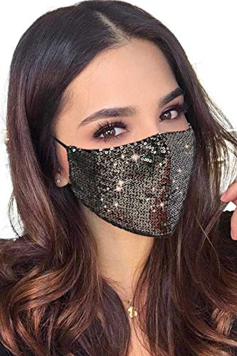 Halloween Masquerade Mask for Women Bling Sequins Fashion Party Face Mask for Girls Gold