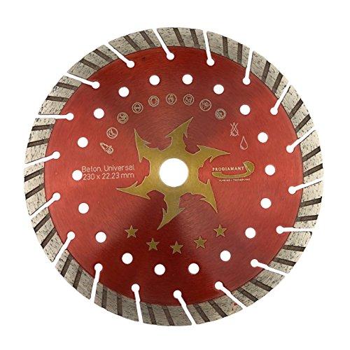 PRODIAMANT Disco de corte de diamante de alta calidad para hormigón, turbo, 230 x 22,2 mm, 230 mm, concave turbo hormigón, apto para amoladora angular