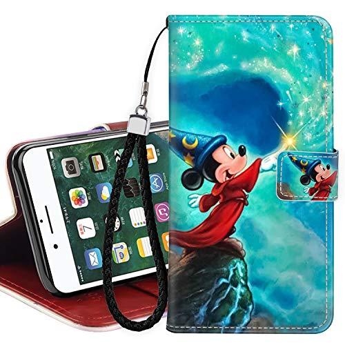 DISNEY COLLECTION Funda tipo cartera para iPhone 7/8/SE2 de piel sintética con diseño de Mickey Magician magnético para tarjetas de crédito con correa de mano, soporte para mujeres y niñas