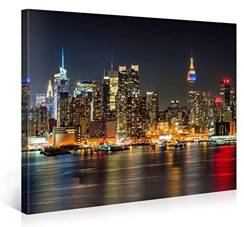 Picanova Illuminated Manhattan New York 100x75cm – Premium Leinwanddruck – Kunstdruck Auf 2cm Holz-Keilrahmen Für Schlaf-Und Wohnzimmer Druck Auf Leinwand, mehrfarbig