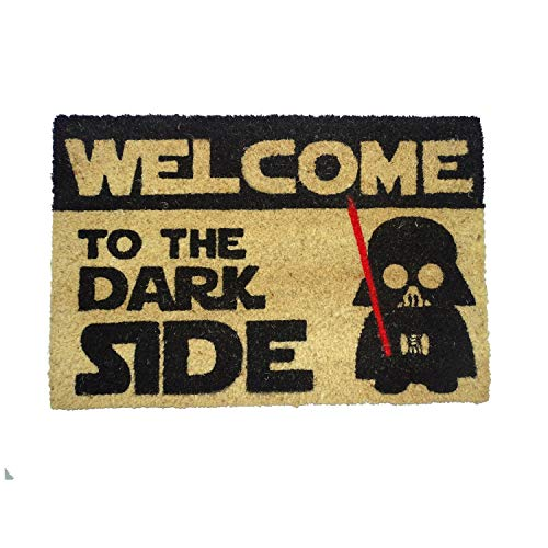 koko doormats Felpudo de Star Wars para Entrada de Casa Original y Divertido/Fibra Natural de Coco con Base de PVC, 40x60 cm (C-Welcome to The Dark Side)