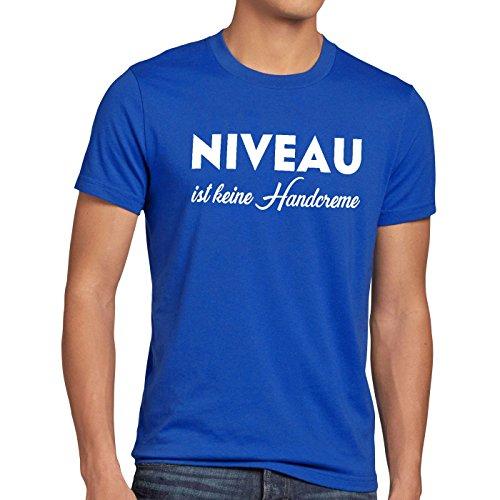 style3 Niveau ist Keine Handcreme Herren T-Shirt Creme Funshirt Spruch, Größe:XXXL, Farbe:Blau
