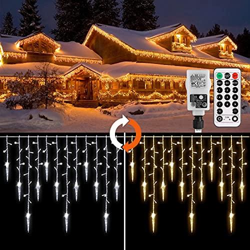 Cascata luci, Catena Luminosa GREEMPIRE 360 LEDs Tenda Luminosa Bianco Caldo e Bianco Freddo,Luci Natale Esterno Cascata con telecomando, per interni ed esterni somatrimoni, Natale, feste, finestre