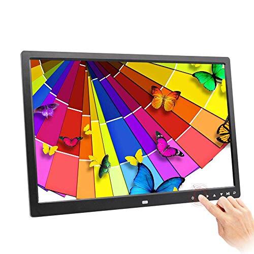 SEESEE.U Digitaler Fotorahmen, Lithium-Batterie 17-Zoll-HD-LED-Touch-Taste Multifunktions-Werbemaschine Elektronischer Bilderrahmen (schwarz) Geschenk