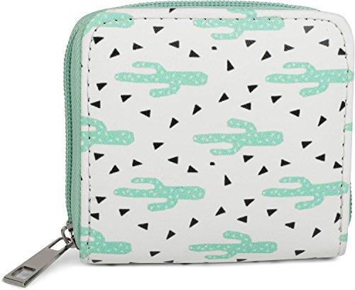 styleBREAKER Mini Geldbörse mit Kaktus Muster, umlaufender Reißverschluss, Portemonnaie, Damen 02040096, Farbe:Weiß-Mint