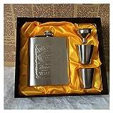 SZIYV 7 oz Petaca Set Inoxidable, de Bolsillo Portable Frasco de la garrafa del Whisky del pote del Vino de la Botella Cubierta de Cuero con Embudo de Viajes y mercancías de la Bebida Taza del Vino