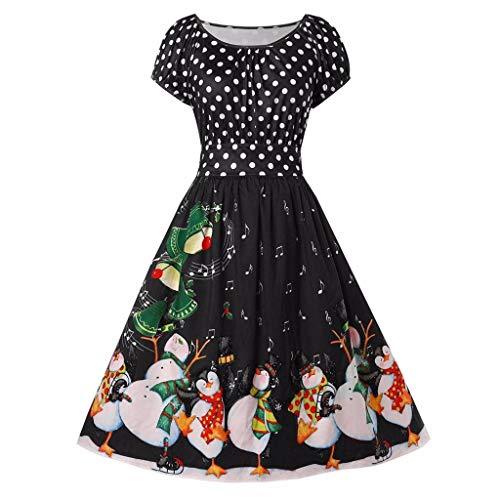 TEELONG Kleider Damen Mode Vintage Plus Size Dot Print Weihnachten Oansatz Party Urlaub Kleid Ballkleid Partykleid Cocktailkleid(XXXXL, Schwarz)