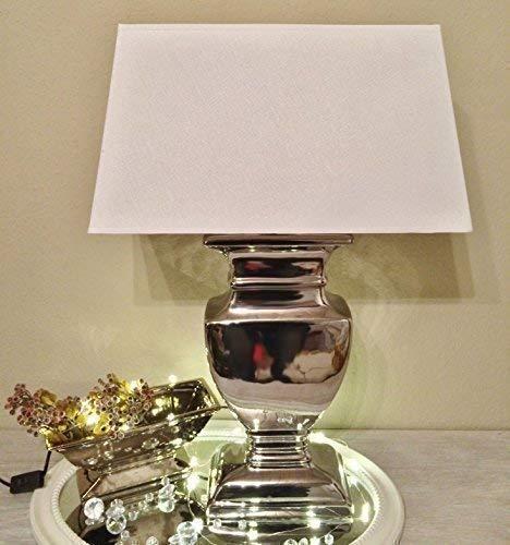 DRULINE Tischlampe Silver Lady Tischleuchte Nachttlampe Weiß 30,5 cm x 43 cm