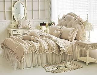 LELVA Shabby Ruffle Duvet Cover Set King Cotton Chic Wrinkle Girls Bedding Khaki 4 Piece Romantic Lace Design Bed Skirt