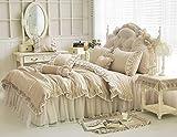 LELVA Shabby Ruffle Duvet Cover Set Full Cotton Chic Wrinkle Girls Bedding Khaki 4 Piece Romantic Lace Design Bed Skirt