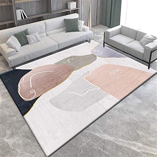 Alfombra alfombras Infantil Alfombra Lavable Simple Crema Rosa Negro Violeta fácil de Limpiar Alfombra habitación Matrimonio Decoracion Cocina 200X300CM