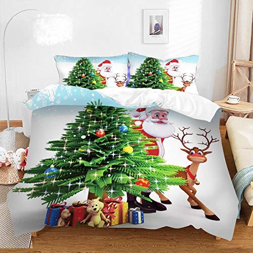 KIrSv Duvet Cover Sets Single,3D Christmas Print Bedding Set Duvet Cover Set Pillowcases Comforter Bedding Sets Home Textile Bedclothes Bed Linen-F-042_210*210cm(3pcs)