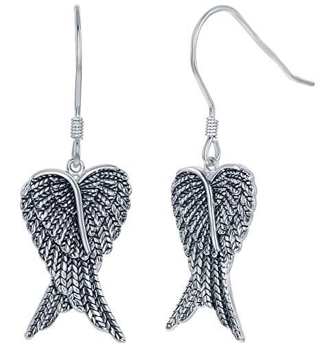 iJewelry2 Pendientes colgantes de plata de ley con alas cruzadas de ángel oxidados