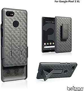 BELTRON Google Pixel 3 XL Protective Case & Swivel Belt Clip Holster Combo with Built-in Kickstand - 1 Year Warranty