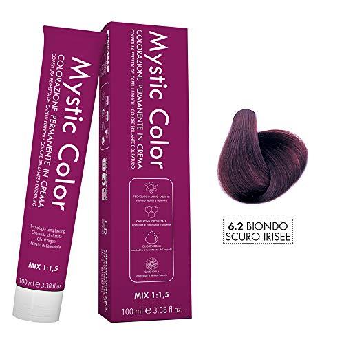 Mystic Color - Crème Colorante Permanente à l'Huile d'Argan et au Calendula - Coloration Longue Durée - Couleur Blond foncé irisé 6.2 - 100ml
