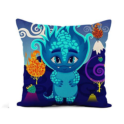 phjyjyeu Funda de almohada de lino con diseño de monstruo de dragón en el país mágico del mundo de las maravillas del fuego árbol de 45,7 x 45,7 cm