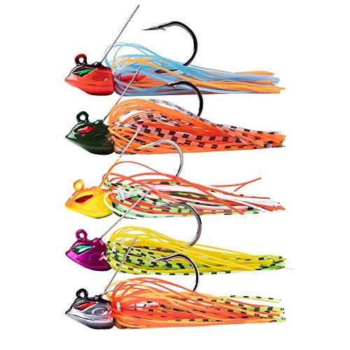 Dr.Fish 5PCs Fishing Weedless Jigs Set Swim Jig Bass Fishing Lure Silicone Skirt Artificial Bait Tuna Salmon Redfish Hard Bait Flipping Jig