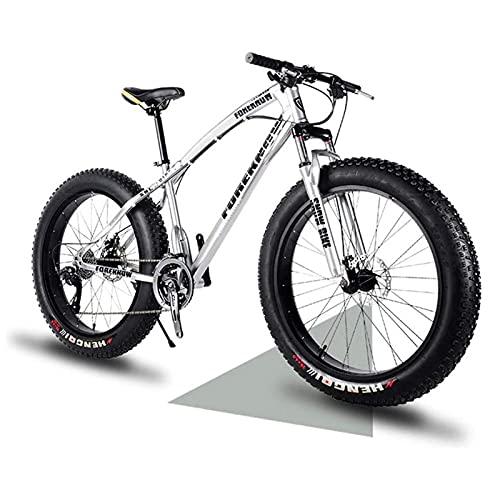 QIU Mountain Fat Tire Bike Bicycle Full Suspension MTB Carbon Steel Mountain Bike Dual Disc Brake Hardtail Bike for Beach, Desert, Snow(7 Speed 20/24/26In) (Color : White, Size : 24')