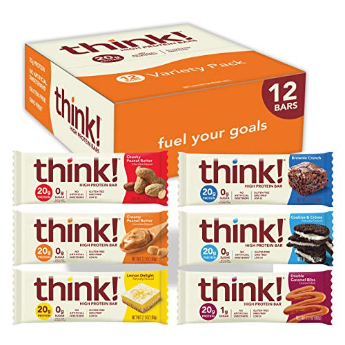think! High Protein Bars 20g Protein, 03 g Sugar, No Artificial Sweeteners, Gluten GMO Free, 2, Variety Pack, 1 Count