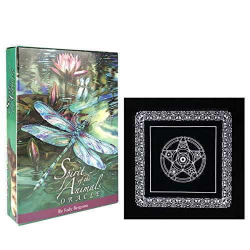 Geister der Tiere Oracle-Karten mit schwarzem Plüsch Altar Tabellen-Tuch, Pentagram Retro Tarot-Tuch, Englisches Spielen Tarot Karten Spiel
